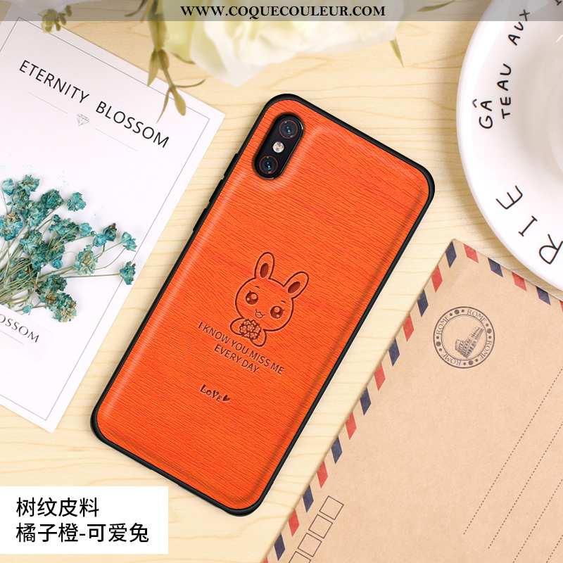 Housse Xiaomi Mi 8 Pro Tendance Étui Silicone, Xiaomi Mi 8 Pro Cuir Délavé En Daim Orange