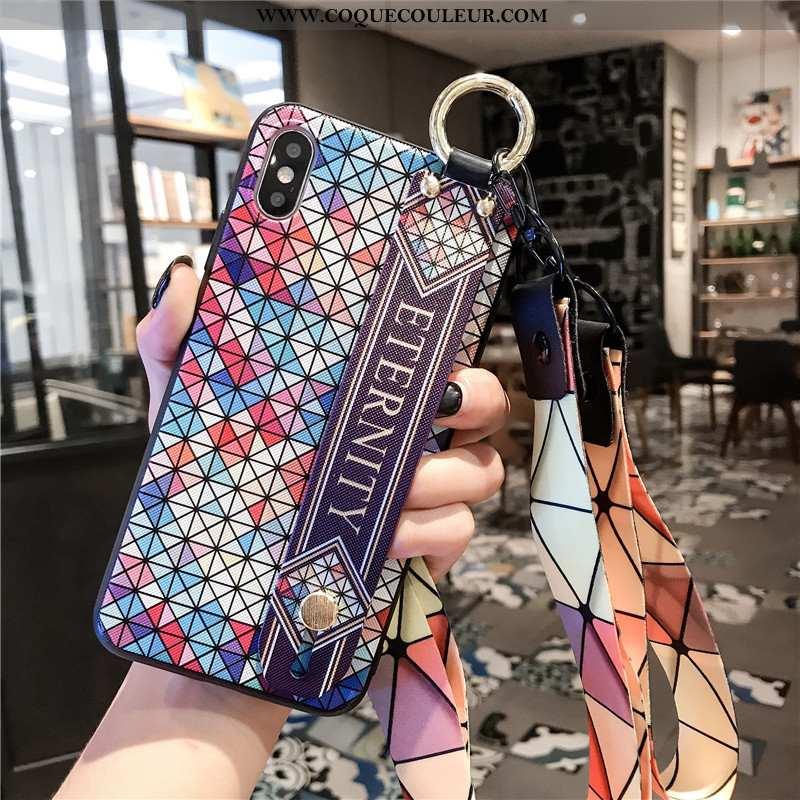 Étui Xiaomi Mi 8 Pro Cou Suspendu Téléphone Portable Losange, Coque Xiaomi Mi 8 Pro Tendance Net Rou
