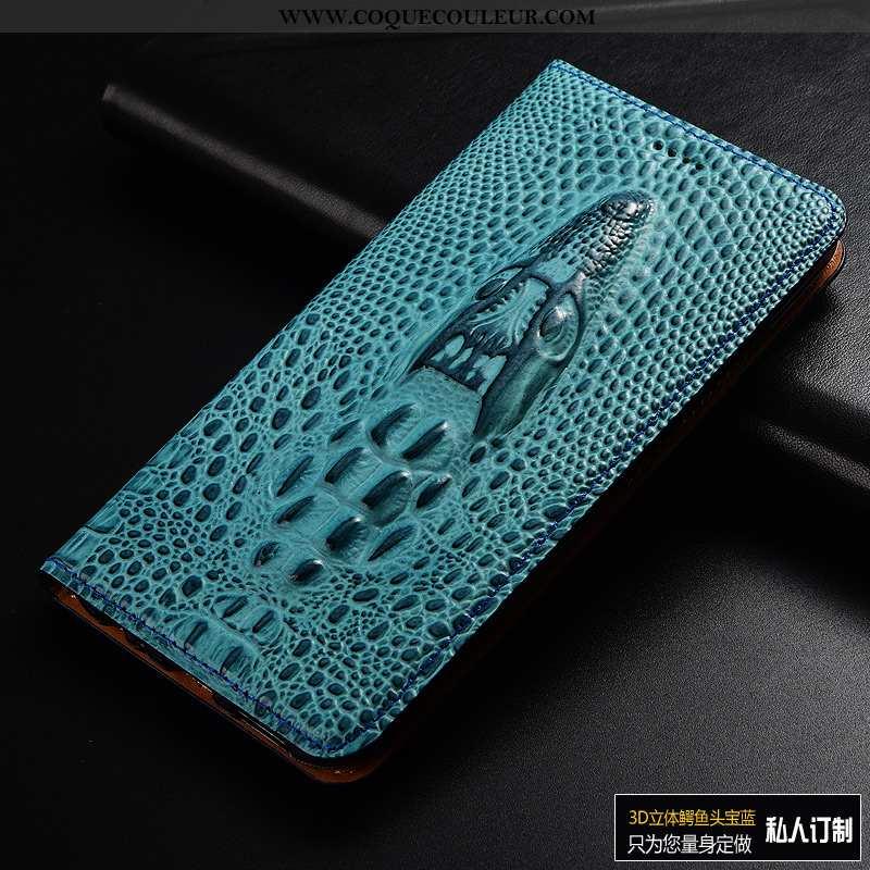 Étui Xiaomi Mi 8 Pro Protection Crocodile Étui, Coque Xiaomi Mi 8 Pro Cuir Véritable Clamshell Bleu