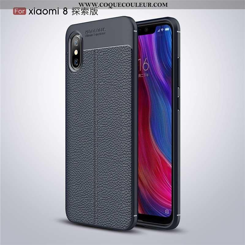 Coque Xiaomi Mi 8 Pro Tendance Incassable Luxe, Housse Xiaomi Mi 8 Pro Légère Étui Noir