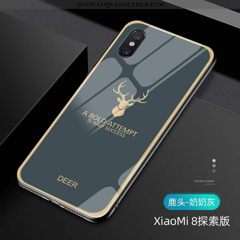 Coque Xiaomi Mi 8 Pro Modèle Fleurie Étui Vert, Housse Xiaomi Mi 8 Pro Protection Tout Compris Verte