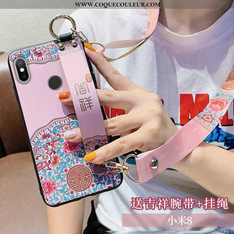 Coque Xiaomi Mi 8 Cou Suspendu Rose Téléphone Portable, Housse Xiaomi Mi 8 Silicone Tout Compris