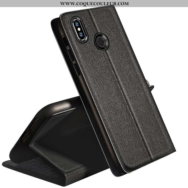 Étui Xiaomi Mi 8 Cuir Housse Jeunesse, Coque Xiaomi Mi 8 Fluide Doux Protection Noir