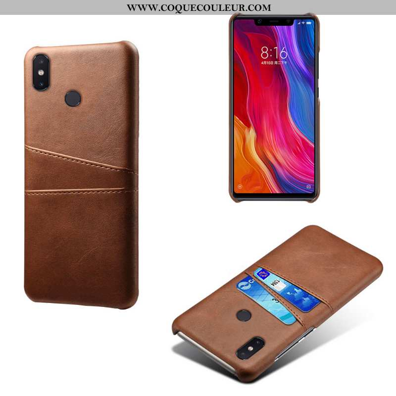 Housse Xiaomi Mi 8 Protection Téléphone Portable Carte, Étui Xiaomi Mi 8 Cuir Coque Marron