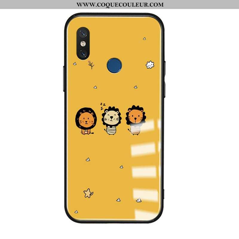 Coque Xiaomi Mi 8 Dessin Animé Créatif Lion, Housse Xiaomi Mi 8 Charmant Étui Jaune
