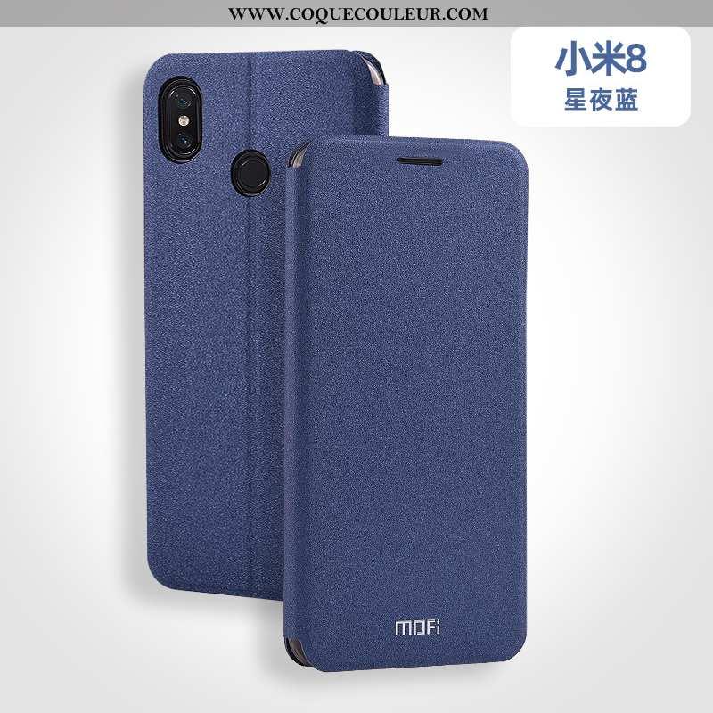 Étui Xiaomi Mi 8 Fluide Doux Petit, Coque Xiaomi Mi 8 Silicone Bleu
