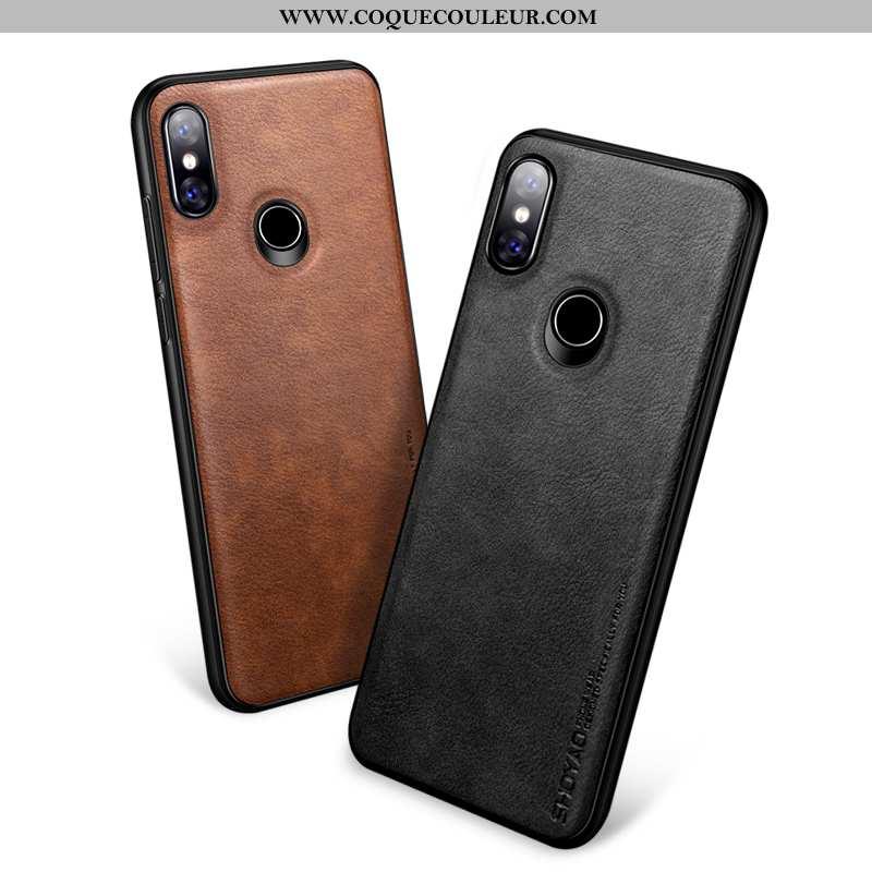 Coque Xiaomi Mi 8 Tendance Transparent Personnalité, Housse Xiaomi Mi 8 Cuir Téléphone Portable Noir