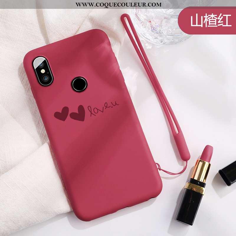 Coque Xiaomi Mi 8 Protection Téléphone Portable Net Rouge, Housse Xiaomi Mi 8 Charmant Rouge