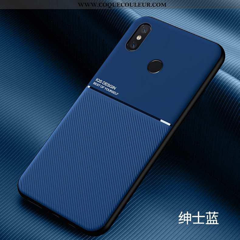 Étui Xiaomi Mi 8 Modèle Fleurie Silicone Petit, Coque Xiaomi Mi 8 Fluide Doux Délavé En Daim Bleu