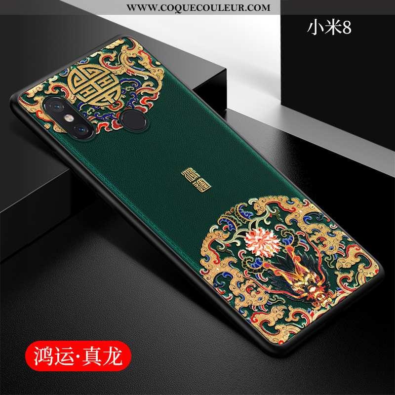 Housse Xiaomi Mi 8 Ultra Protection Étui, Étui Xiaomi Mi 8 Légère Style Chinois Verte