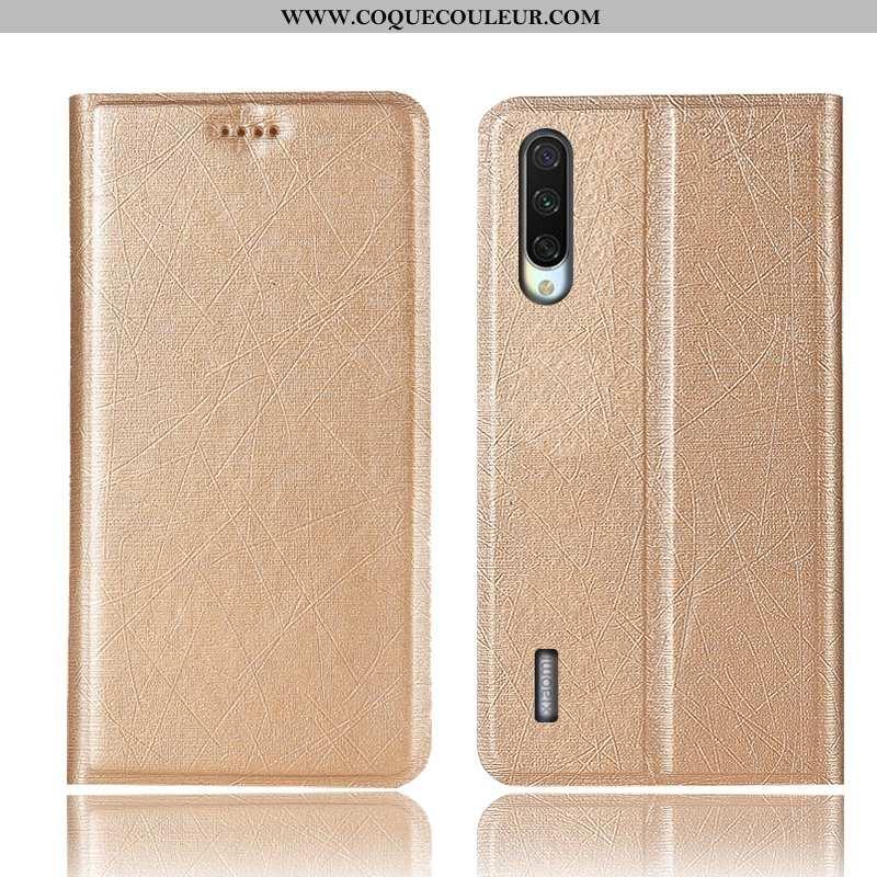 Housse Xiaomi Mi 9 Lite Protection Tout Compris Soie, Étui Xiaomi Mi 9 Lite Cuir Incassable Doré