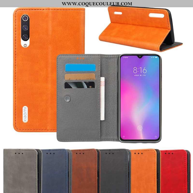 Étui Xiaomi Mi 9 Lite Cuir Coque Petit, Xiaomi Mi 9 Lite Protection Portefeuille Orange