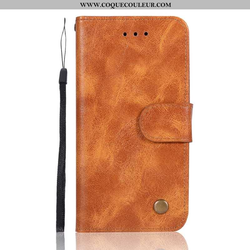 Étui Xiaomi Mi 9 Lite Vintage Coque Cuir, Xiaomi Mi 9 Lite Portefeuille Carte Marron