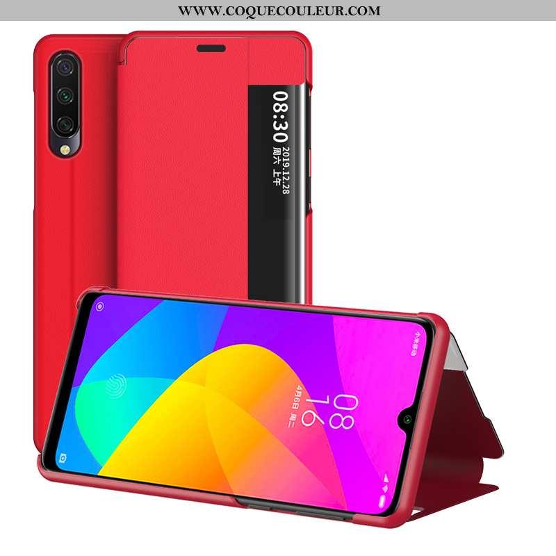 Housse Xiaomi Mi 9 Lite Créatif Téléphone Portable Incassable, Étui Xiaomi Mi 9 Lite Cuir Rouge