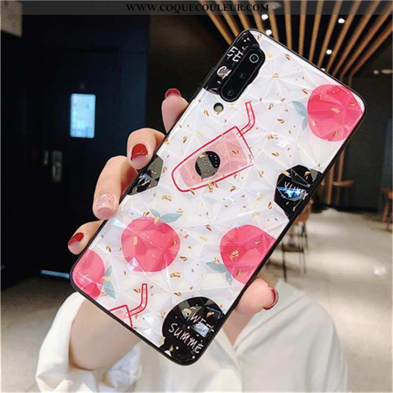 Housse Xiaomi Mi 9 Lite Coque En Silicone Rouge Dimensionnel, Étui Xiaomi Mi 9 Lite Protection Blanc