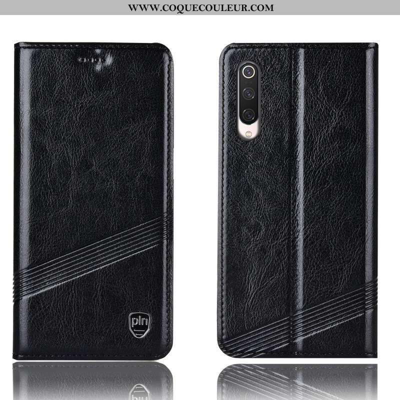 Housse Xiaomi Mi 9 Lite Cuir Véritable Rouge Incassable, Étui Xiaomi Mi 9 Lite Protection Coque Noir