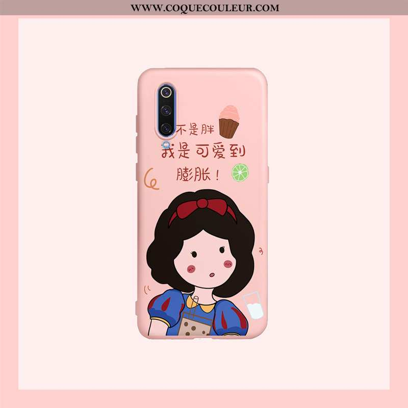 Étui Xiaomi Mi 9 Lite Silicone Petit Fluide Doux, Coque Xiaomi Mi 9 Lite Dessin Animé Charmant Rose
