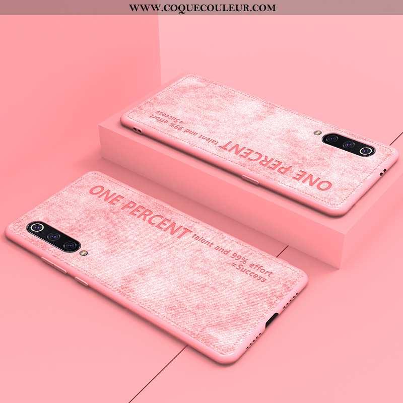 Housse Xiaomi Mi 9 Lite Original Simple Fluide Doux, Étui Xiaomi Mi 9 Lite Ultra Petit Rose