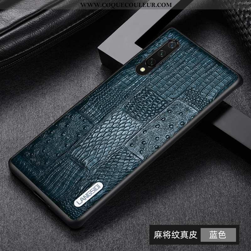 Housse Xiaomi Mi 9 Lite Cuir Véritable Bleu Téléphone Portable, Étui Xiaomi Mi 9 Lite Cuir Protectio