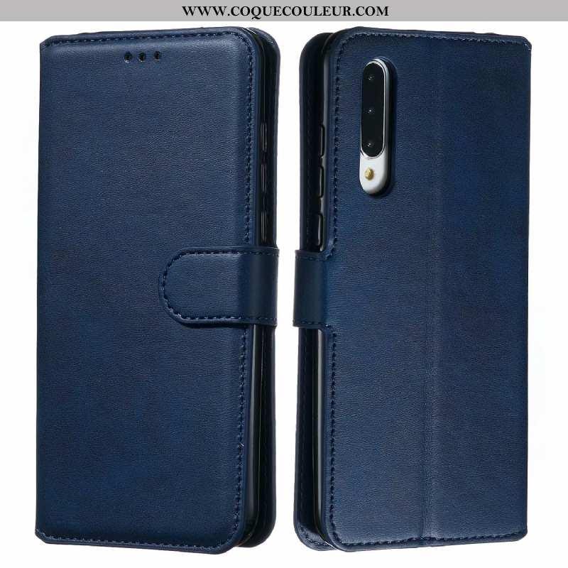 Housse Xiaomi Mi 9 Lite Cuir Petit Bleu Marin, Étui Xiaomi Mi 9 Lite Fluide Doux Coque Bleu Foncé