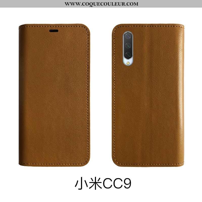 Étui Xiaomi Mi 9 Lite Cuir Véritable Téléphone Portable, Coque Xiaomi Mi 9 Lite Protection Tout Comp