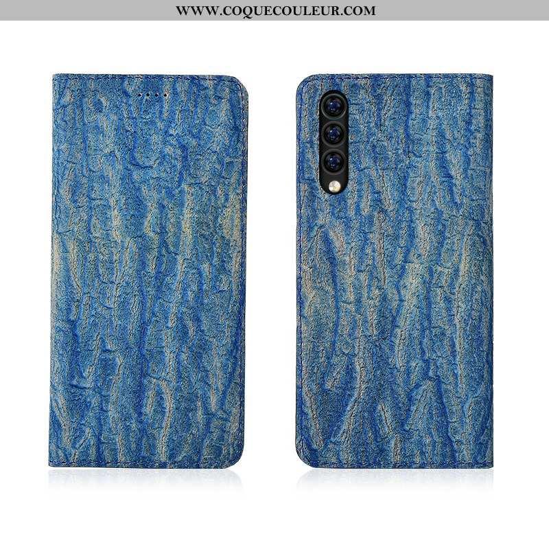Housse Xiaomi Mi 9 Se Cuir Modèle Arbres, Étui Xiaomi Mi 9 Se Fluide Doux Silicone Bleu