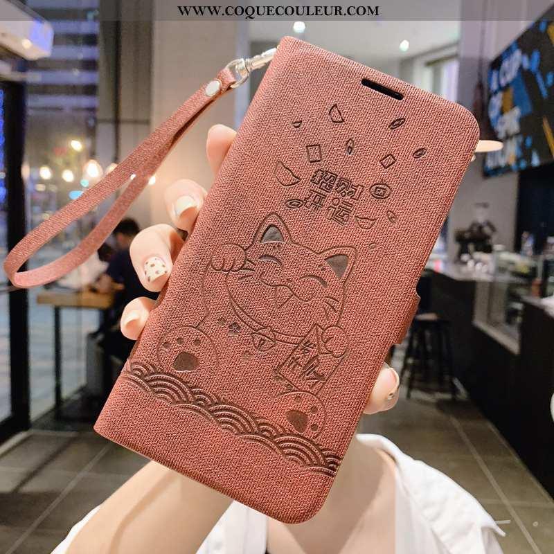 Coque Xiaomi Mi 9 Cuir Protection Rouge, Housse Xiaomi Mi 9 Silicone Téléphone Portable Marron