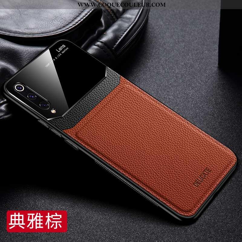 Coque Xiaomi Mi 9 Tendance Ultra Cuir, Housse Xiaomi Mi 9 Légère Verre Marron