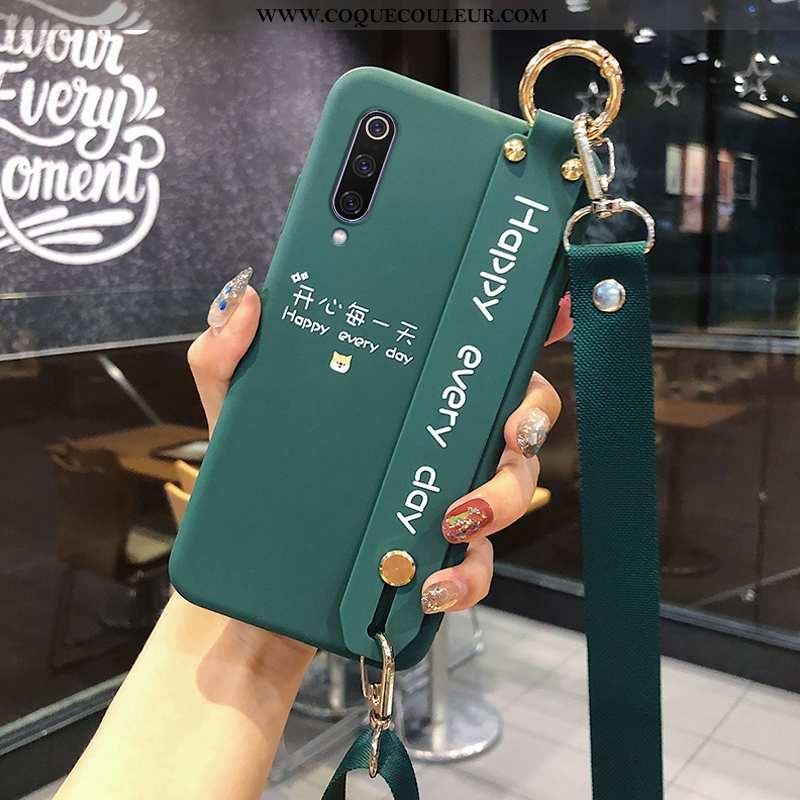 Étui Xiaomi Mi 9 Délavé En Daim Fluide Doux Modèle, Coque Xiaomi Mi 9 Cou Suspendu Protection Verte