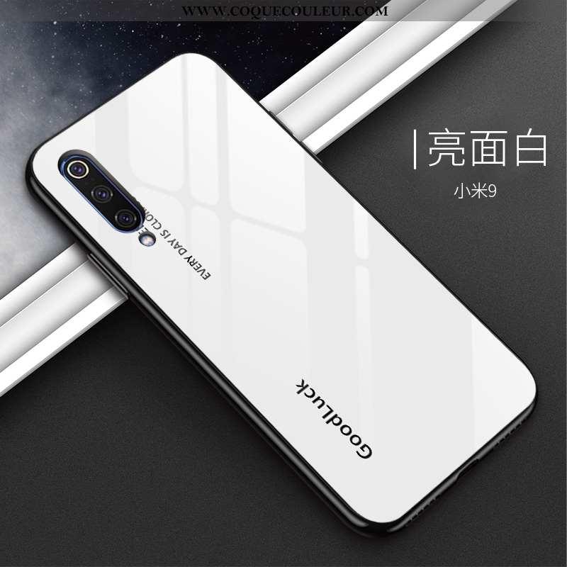 Coque Xiaomi Mi 9 Protection Personnalité Tempérer, Housse Xiaomi Mi 9 Verre Mode Blanche