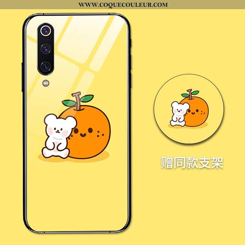Étui Xiaomi Mi 9 Verre Silicone, Coque Xiaomi Mi 9 Personnalité Protection Jaune