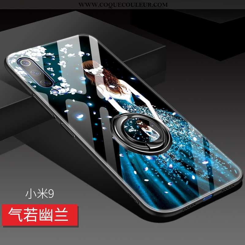 Étui Xiaomi Mi 9 Protection Tout Compris Créatif, Coque Xiaomi Mi 9 Verre Tendance Bleu