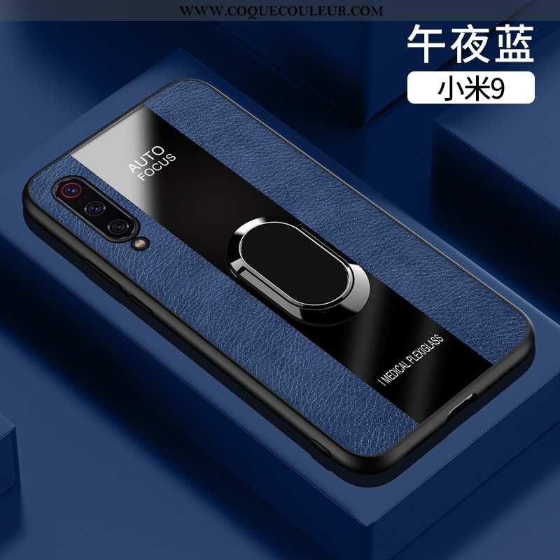 Étui Xiaomi Mi 9 Fluide Doux Tout Compris Cuir, Coque Xiaomi Mi 9 Silicone Bleu