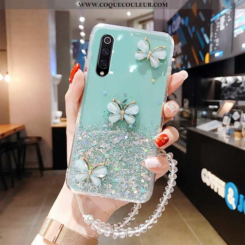 Coque Xiaomi Mi 9 Légère Papillon Protection, Housse Xiaomi Mi 9 Fluide Doux Tout Compris Verte