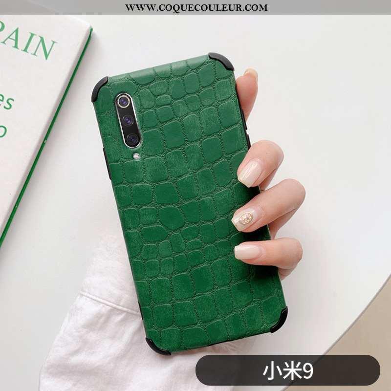 Housse Xiaomi Mi 9 Mode Crocodile Incassable, Étui Xiaomi Mi 9 Protection Coque Verte