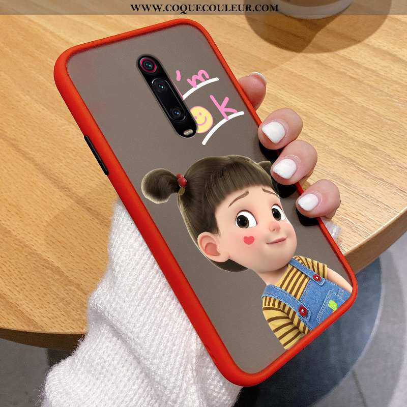 Housse Xiaomi Mi 9t Pro Délavé En Daim Transparent Rouge, Étui Xiaomi Mi 9t Pro Personnalité Légère