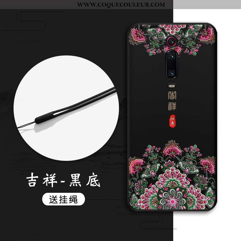 Coque Xiaomi Mi 9t Pro Gaufrage Petit Noir, Housse Xiaomi Mi 9t Pro Tendance Noir