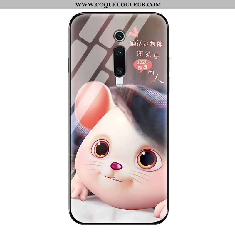 Étui Xiaomi Mi 9t Pro Verre Coque Tout Compris, Xiaomi Mi 9t Pro Délavé En Daim Créatif Marron