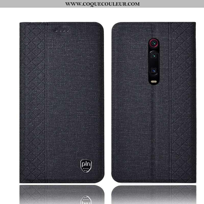 Housse Xiaomi Mi 9t Pro Protection Noir, Étui Xiaomi Mi 9t Pro Cuir Rouge Noir