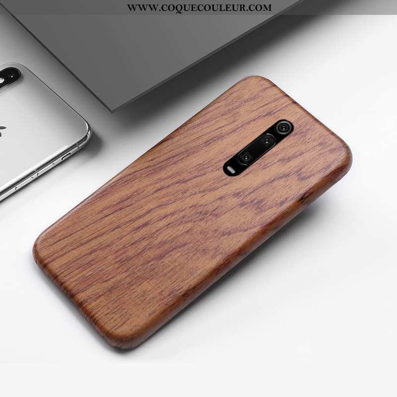 Housse Xiaomi Mi 9t Pro En Bois Créatif Étui, Étui Xiaomi Mi 9t Pro Protection Style Chinois Marron