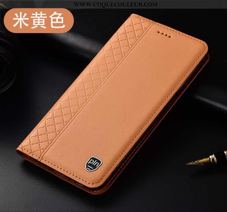 Housse Xiaomi Mi 9t Cuir Véritable Petit, Étui Xiaomi Mi 9t Protection Jaune