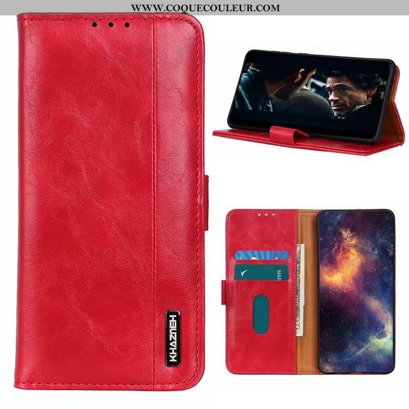 Étui Xiaomi Mi 9t Cuir Coque Incassable, Xiaomi Mi 9t Fluide Doux Reversible Rouge