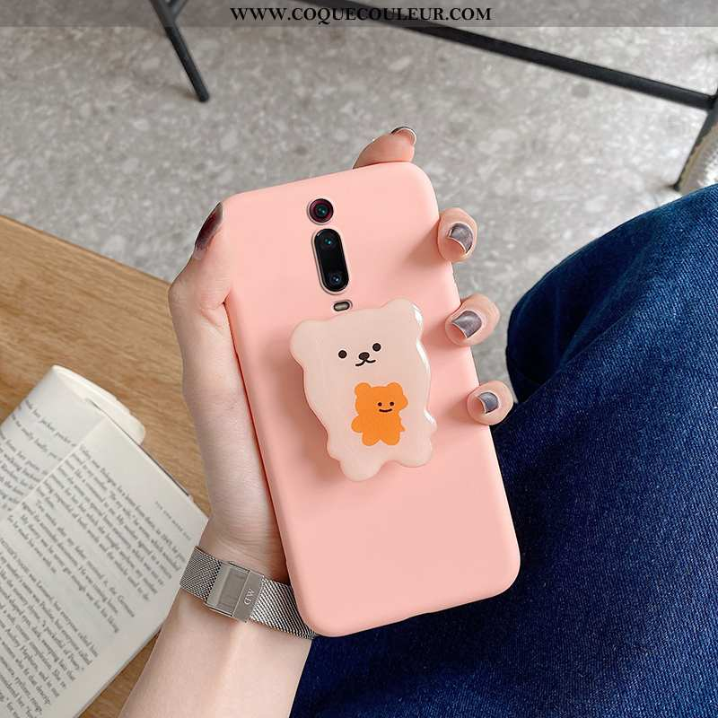 Housse Xiaomi Mi 9t Silicone Support Coque, Étui Xiaomi Mi 9t Personnalité Téléphone Portable Rose