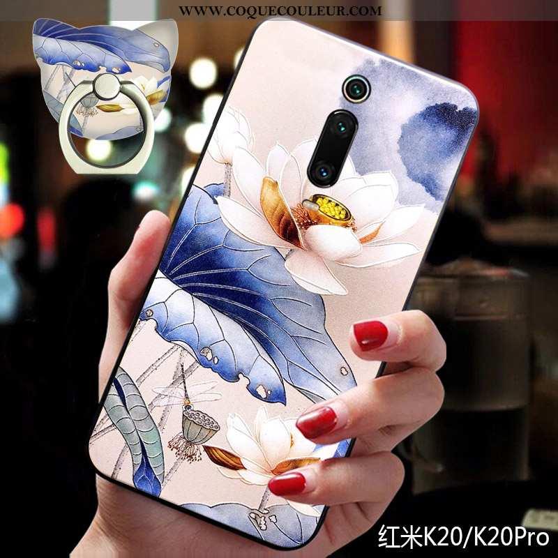Housse Xiaomi Mi 9t Silicone Bleu Une Agrafe, Étui Xiaomi Mi 9t Ornements Suspendus Fluide Doux