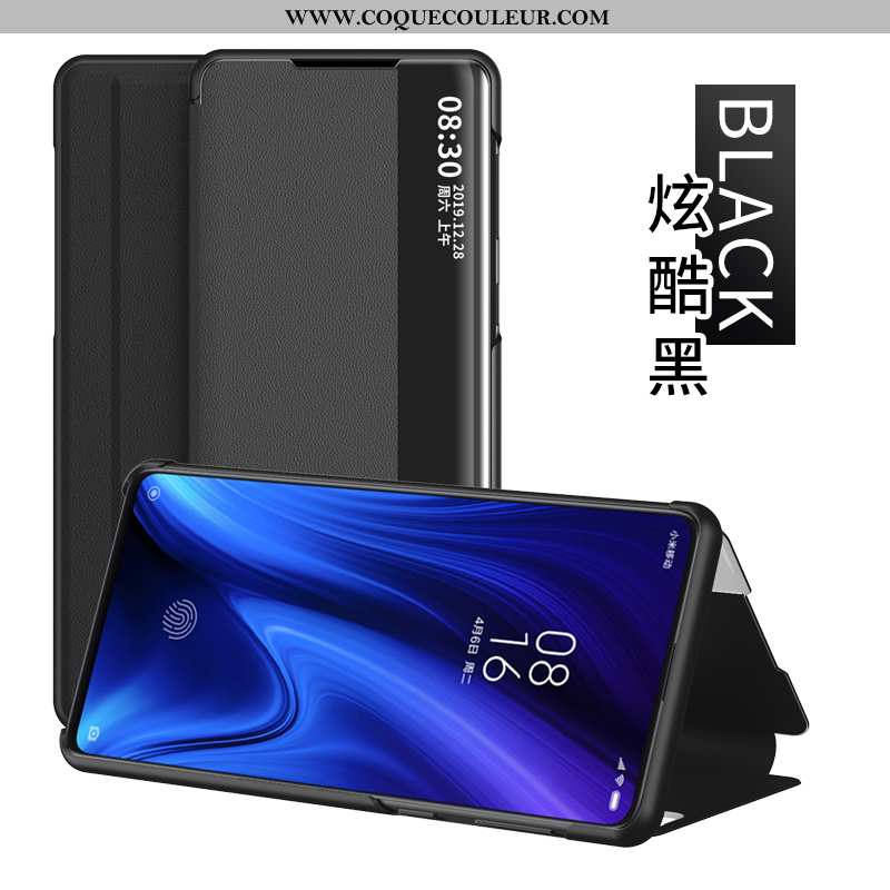 Étui Xiaomi Mi 9t Protection Rouge, Coque Xiaomi Mi 9t Cuir Petit Noir