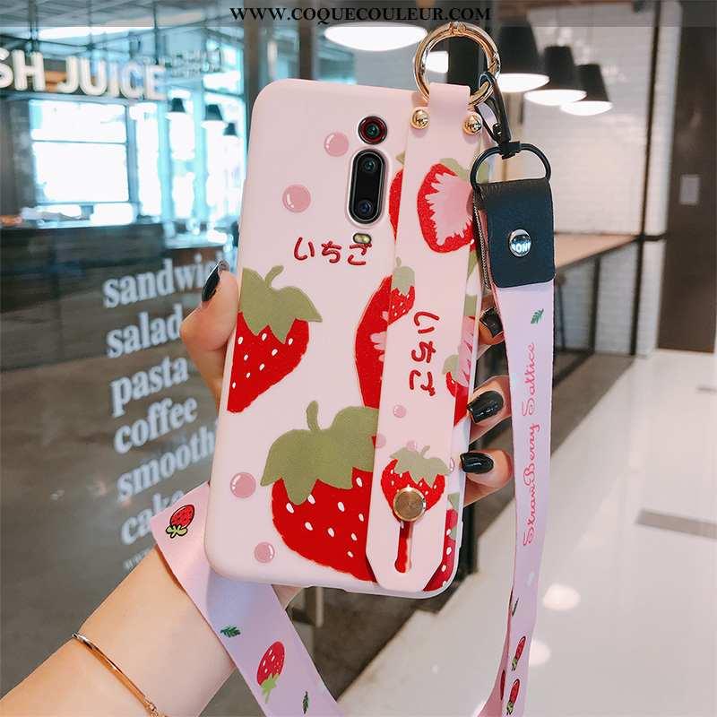 Coque Xiaomi Mi 9t Silicone Vent Fluide Doux, Housse Xiaomi Mi 9t Protection Fraise Rouge