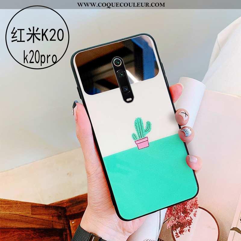 Étui Xiaomi Mi 9t Verre Protection Miroir, Coque Xiaomi Mi 9t Personnalité Vert Verte