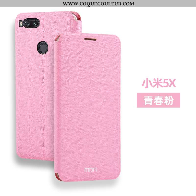 Housse Xiaomi Mi A1 Silicone Fluide Doux Cuir, Étui Xiaomi Mi A1 Accessoires Coque Rose