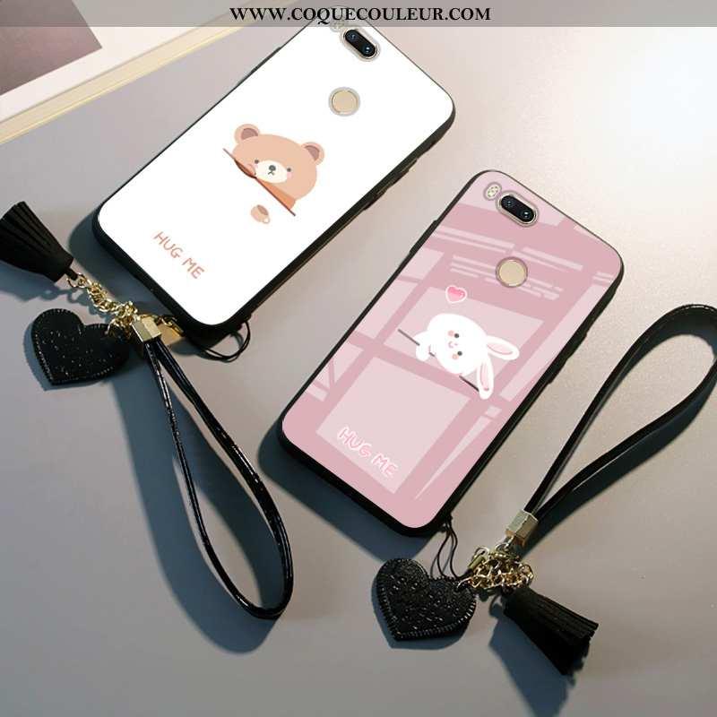Housse Xiaomi Mi A1 Protection Lapin Net Rouge, Étui Xiaomi Mi A1 Dessin Animé Petit Blanche