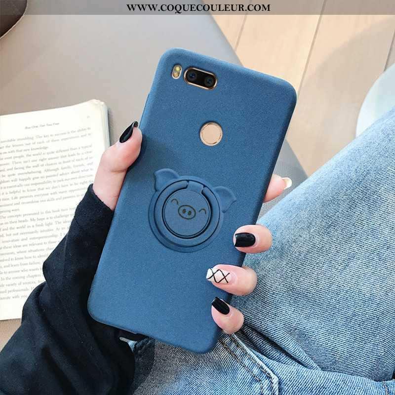 Housse Xiaomi Mi A1 Protection Coque Chic, Étui Xiaomi Mi A1 Délavé En Daim Bordure Bleu Foncé